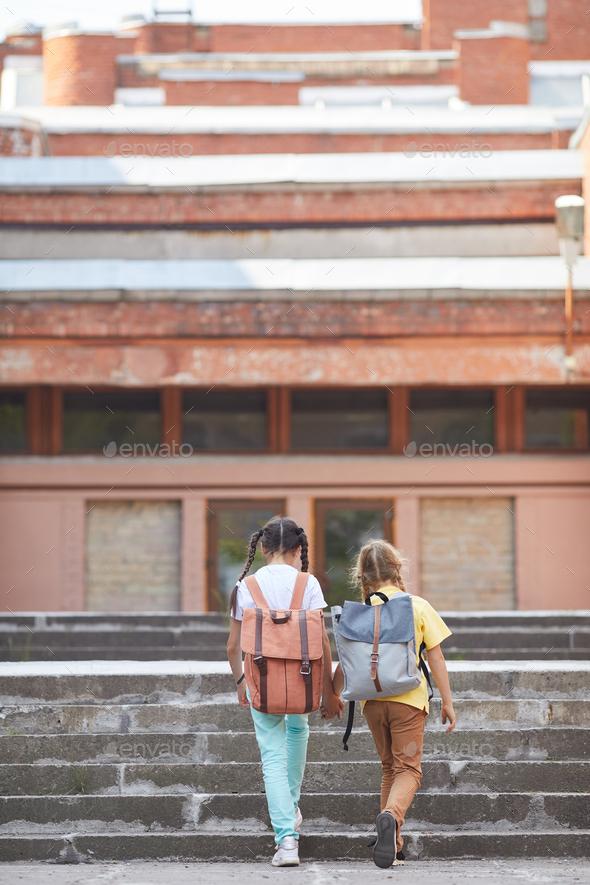 Girls Walking to School - Stock Photo - Images