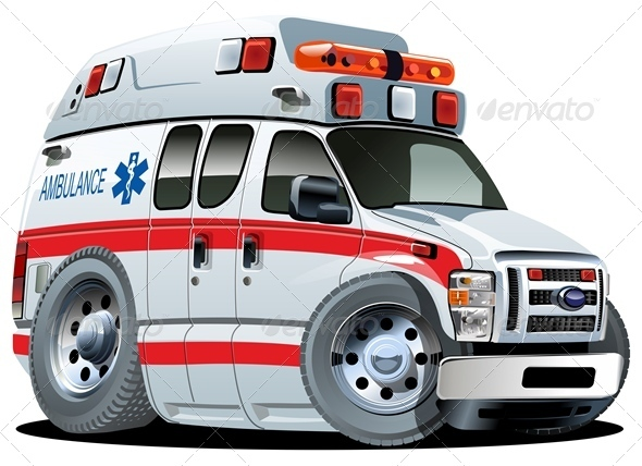 Vector Cartoon Ambulance - Health/Medicine Conceptual
