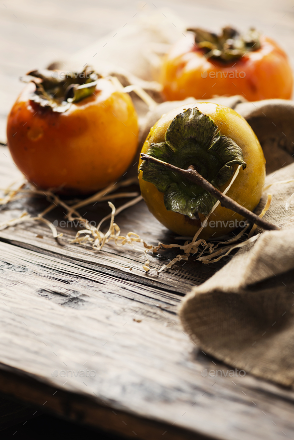 Fresh sweet persimmon - Stock Photo - Images