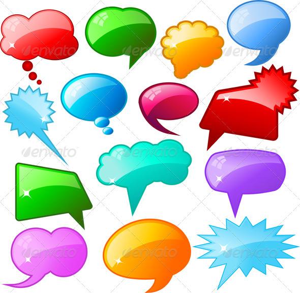 Glossy speech bubbles - Objects Vectors