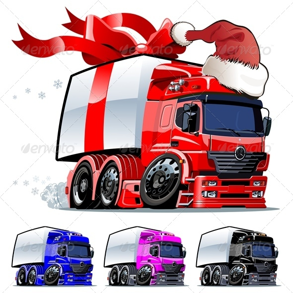 Vector Cartoon Christmas Cargo Truck - Christmas Seasons/Holidays