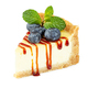 Cheesecake with fresh blueberries, caramel syrup and mint leaves isolated on white - PhotoDune Item for Sale