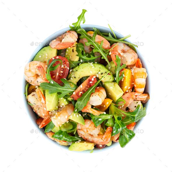 Salad with avocado, shrimp and arugula. - Stock Photo - Images