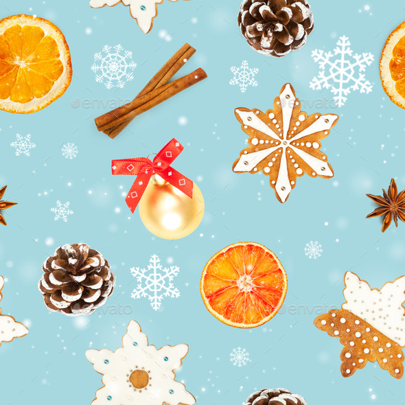 Christmas seamless pattern on blue background. - Stock Photo - Images