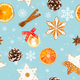Christmas seamless pattern on blue background. - PhotoDune Item for Sale