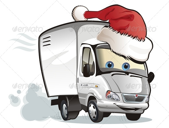 Vector Cartoon Christmas Truck - Christmas Seasons/Holidays