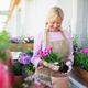 Senior woman gardening on balcony in summer, planting flowers - PhotoDune Item for Sale