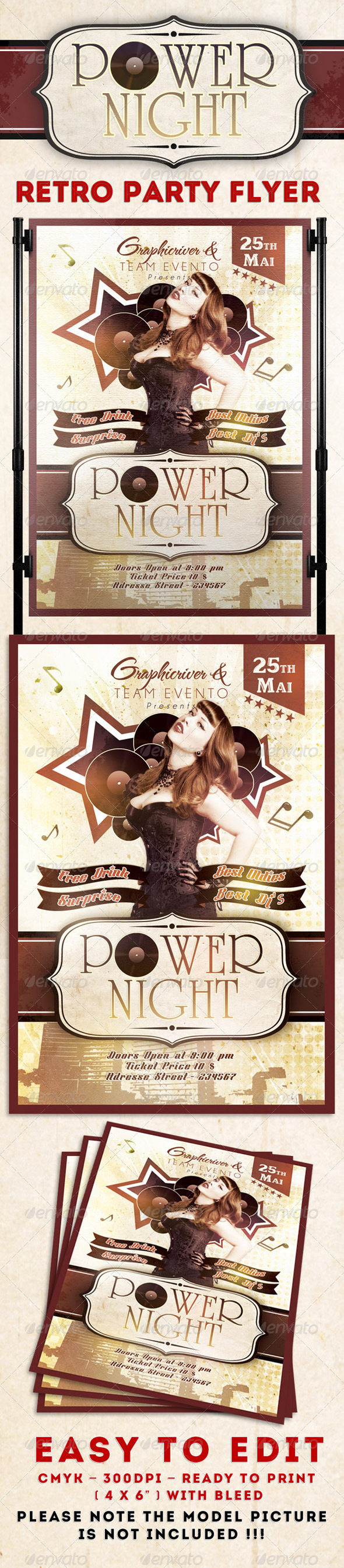 Power Night Party Flyer Template - Clubs & Parties Events