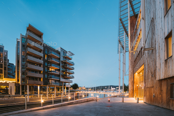 Oslo, Norway. Night View Of Residential Multi-storey Houses In Aker Brygge District. Summer Evening - Stock Photo - Images