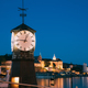 Oslo. Norway. Old Clock at Aker Brygge In Oslo Embankment, Norway. Night View Of Famous And Popular - PhotoDune Item for Sale
