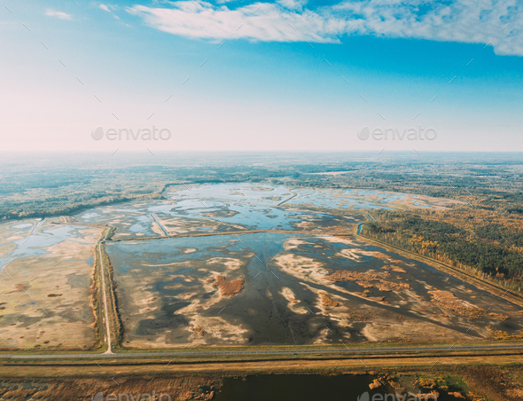 Belarus. Aerial View Of Ponds Autumn Landscape. Ponds of fisheries in the south of Belarus. Top View - Stock Photo - Images