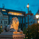 Oslo, Norway. Night View Of Lion Statue Near Storting Building. Parliament Of Norway Building - PhotoDune Item for Sale