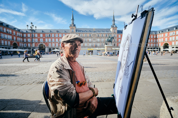 Senior Adult Working As Street Painter In Madrid - Stock Photo - Images