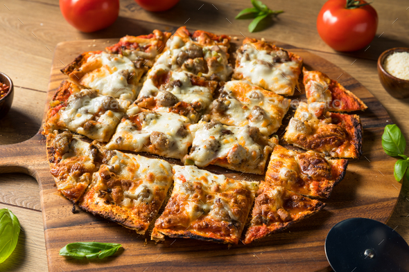 Homemade Sausage and Peppers Pizza - Stock Photo - Images