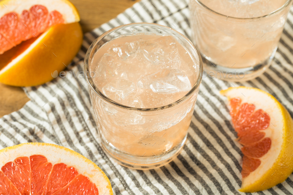 Refreshing Cold Sparkling Grapefruit Water - Stock Photo - Images
