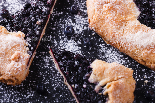 Galette with blueberries  Sweet pastries - Stock Photo - Images