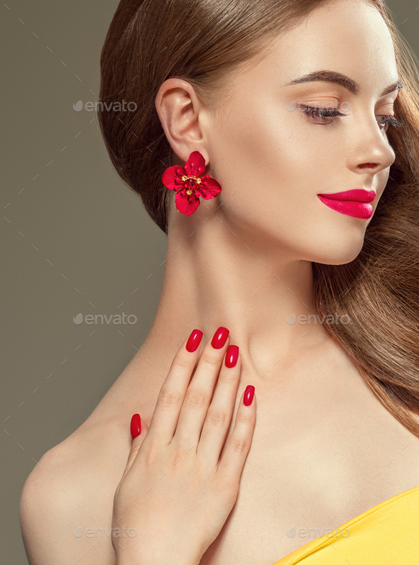 Beautiful woman long beauty hairstyle red lips manicured nails. Female portrait. Studio shot. - Stock Photo - Images