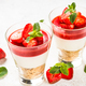 Cheesecake in the glasses with fresh strawberry - PhotoDune Item for Sale