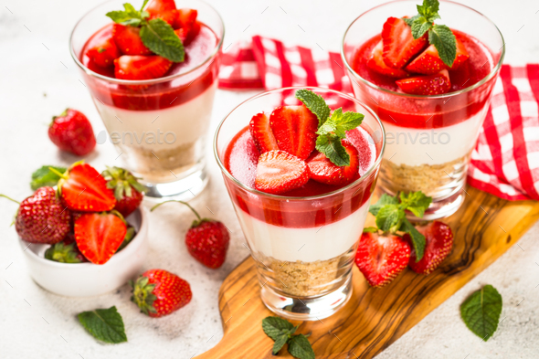 Cheesecake in the glasses with fresh strawberry - Stock Photo - Images