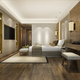 3d rendering beautiful luxury bedroom suite in hotel with tv and working table - PhotoDune Item for Sale