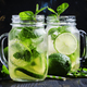 Iced green tea with lime and mint in glass jars - PhotoDune Item for Sale