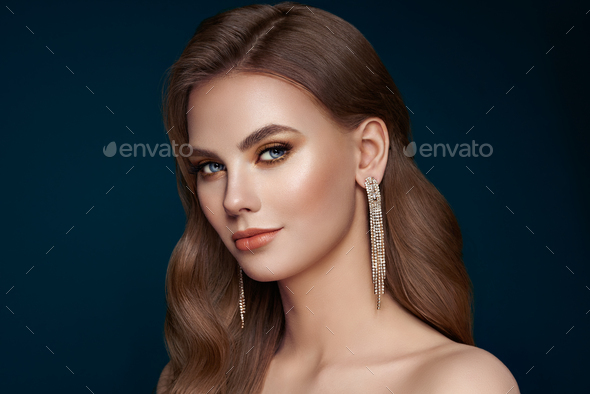 Portrait beautiful woman with jewelry - Stock Photo - Images
