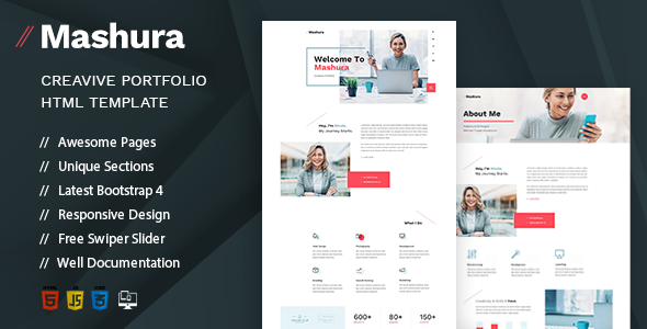 Mashura - Single Portfolio HTML Template