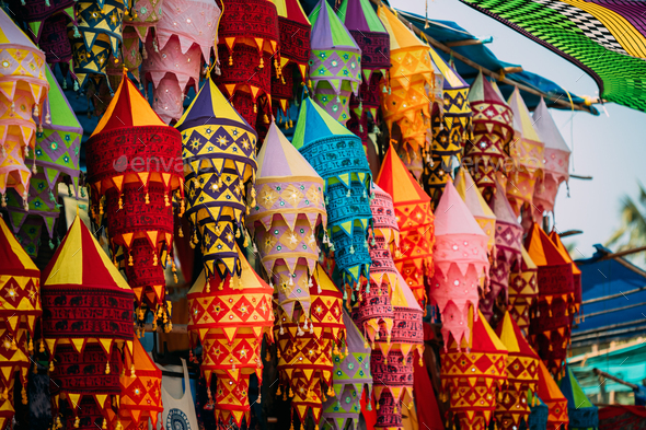 India. Market With Many Traditional Colorful Handmade Indian Fabric Lanterns. Popular Souvenirs From - Stock Photo - Images
