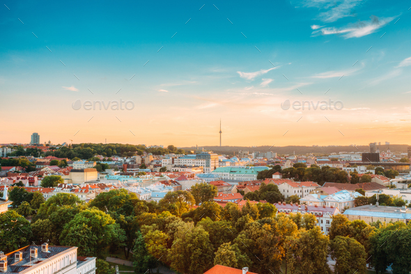 Vilnius, Lithuania. Sunset Sunrise Dawn Above Cityscape In Evening Summer. Beautiful View Of Vilnius - Stock Photo - Images