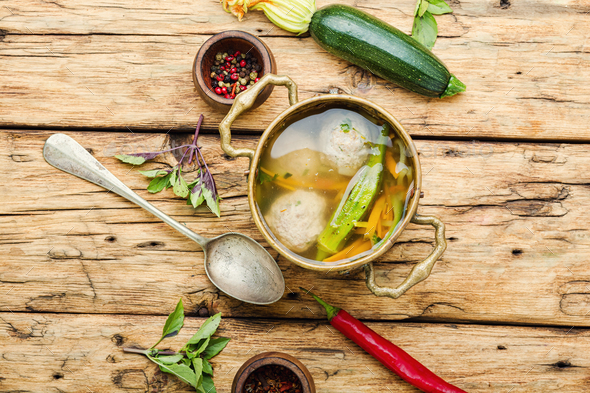 Soup with meat balls and vegetables - Stock Photo - Images