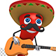 Chili Pepper With Sombrero Playing A Guitar - VideoHive Item for Sale