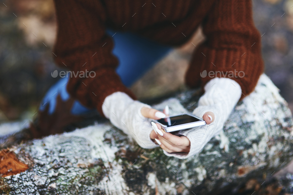 Woman's hands using mobile phone in autumn forest - Stock Photo - Images