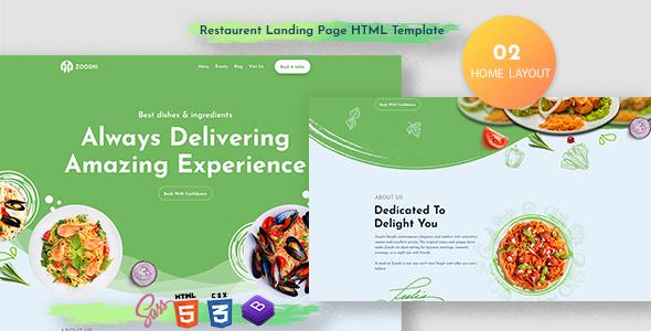 Zooshi- Restaurent Landing Page HTML Template