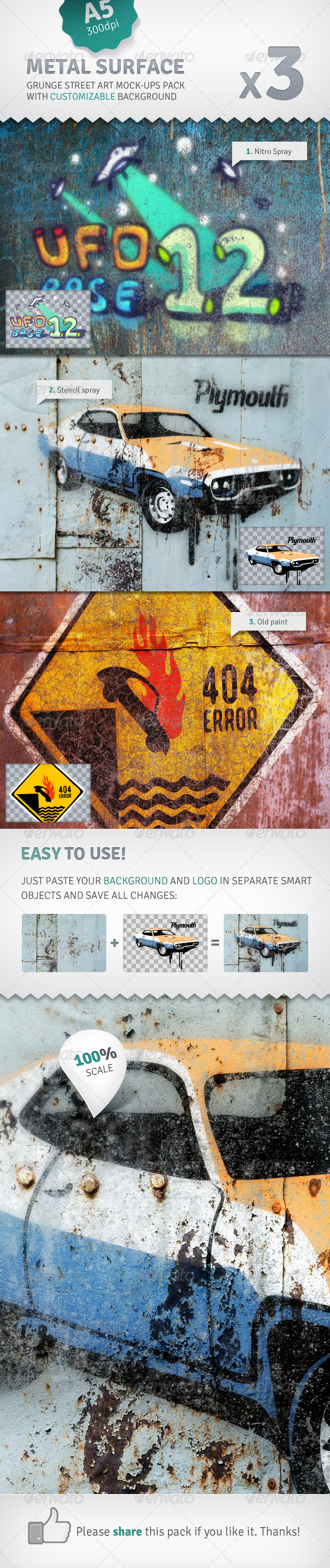 Metal Surface - 3 Graffiti Street Art Mockups - Miscellaneous Displays