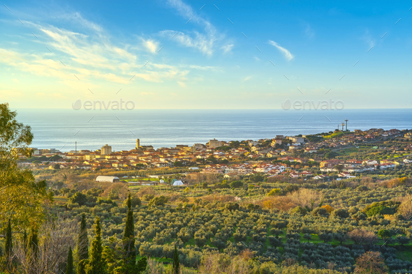 San Vincenzo travel destination view at sunset. Maremma, Livorno, Tuscany, Italy. - Stock Photo - Images