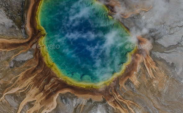 Aerial view of Grand prismatic spring in Yellowstone national park, USA - Stock Photo - Images
