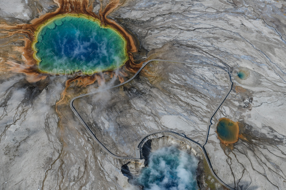 Swgp01Aerial view of Grand prismatic spring in Yellowstone national park, USA - Stock Photo - Images