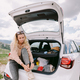 happy woman travel by car in mountains on vacation - PhotoDune Item for Sale