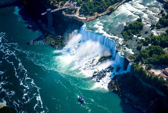 Niagara waterfall from above,Aerial view of Niagara waterfall. - Stock Photo - Images