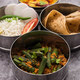 Indian Lunch box or tiffin - Spicy Ladies Finger, dal fry, rice and chapati - PhotoDune Item for Sale