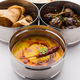 Indian Veg Lunchbox for office of workplace with Baingan Masala, dal fry rice and chapati - PhotoDune Item for Sale