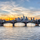 Dramatic sunset over downtown Frankfurt - PhotoDune Item for Sale