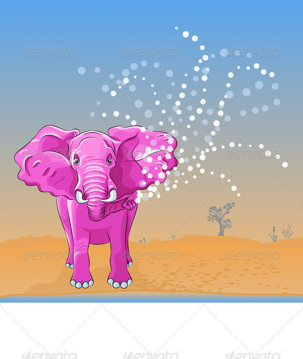 Pink Elephant Pours Water From the Trunk - Animals Characters