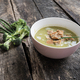 Pink bowl of creamed broccoli soup - PhotoDune Item for Sale