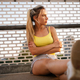 Portrait of athletic fit young woman resting after running outdoor - PhotoDune Item for Sale