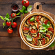 Tart with vegetables. Homemade savory tart with eggplant, zucchini, tomatoes, garlic, mozzarella - PhotoDune Item for Sale