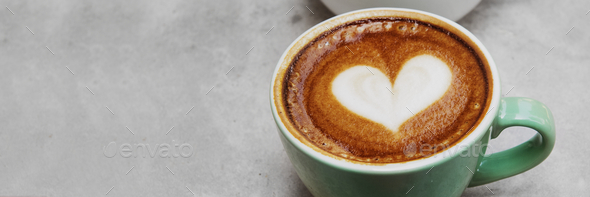 Latte art heart for valentines day - Stock Photo - Images