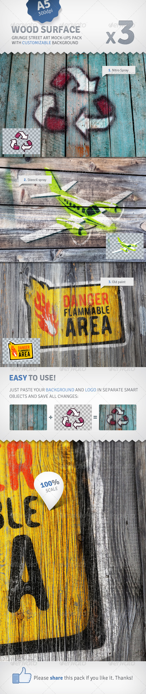 Old Wood - 3 Graffiti Street Art Mockups - Miscellaneous Displays