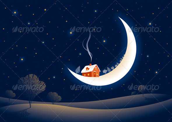 Christmas Moonlit Night - Christmas Seasons/Holidays
