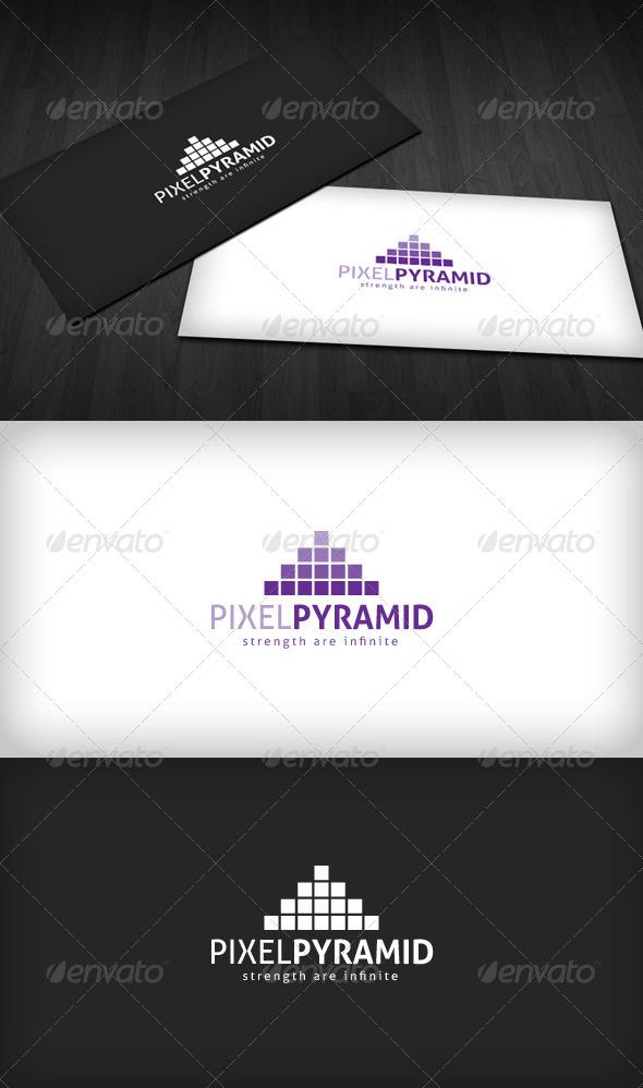 Pixel Pyramid Logo - Vector Abstract